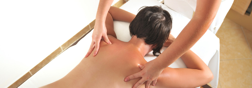 woman getting back massage
